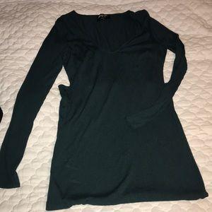 Nastygal hunter green high slit midi dress